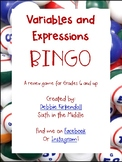Variables and Expressions BINGO **updated**