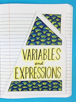Variables and Expressions Interactive Notebook Foldable by Math Doodles