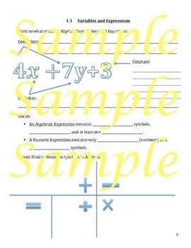 Variables and Expressions Guided Notes, Powerpoint, Keys
