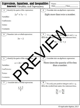 Variables and Expressions - Guided Notes and Homework