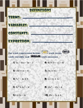 Variables and Expressions- Guided Notes and Practice