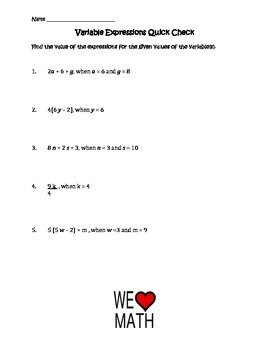 Variables and Expressions Quick Check