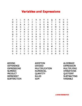 Variables and Expressions Word Search