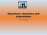Variables and Expressions practice sheets