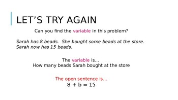 Variables and Open Sentence PowerPoint Presentation