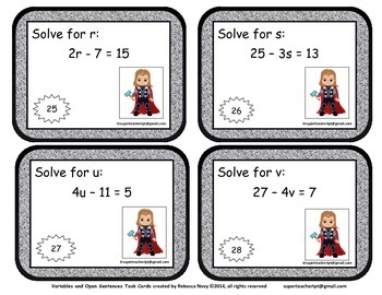 Variables and Open Sentences Task Cards