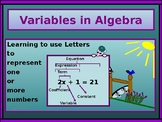 Power-Point:  Variables and Variable Expressions in Algebra