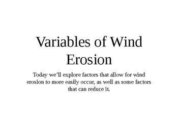 Variables of Wind Erosion on Soil (NGSS) (4ESS2)