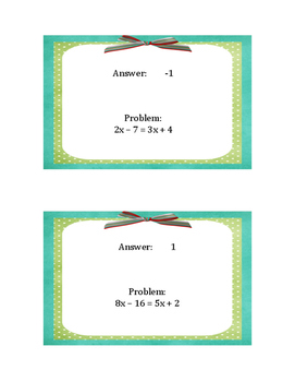Variables on Both Sides Equations - Math Trail