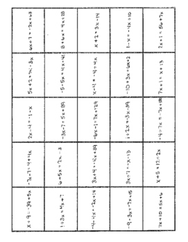 Variables on Both Sides Equations - Puzzle