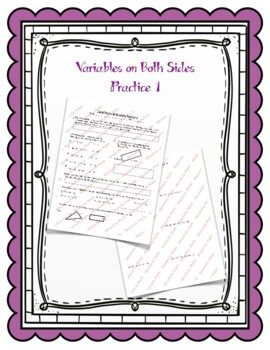 Variables on Both Sides Practice 1