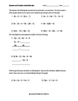 Variables on both sides quiz