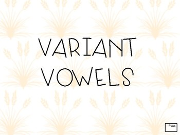 Variant Vowel Flash Cards