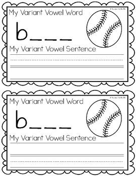 Variant Vowel O {aw} Writing Book
