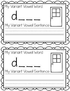 Variant Vowel OR {Controlled R} Writing Book