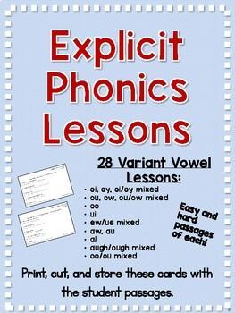 Variant Vowel Phonics Lessons and Decodable Passages
