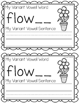 Variant Vowel UR {Controlled R} Writing Book
