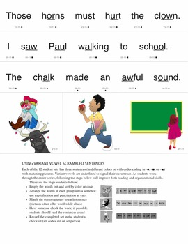 Variant Vowel Word Families & Scrambled Sentences