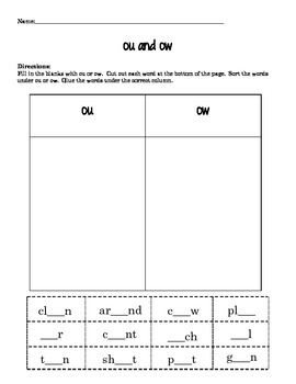 Variant Vowel and Diphthong Phonics Packet