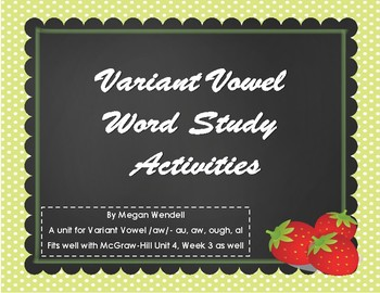 Variant Vowel /aw/ Intro, Activities and Test