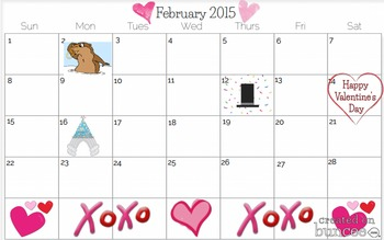 February 2015 Calendars to track class activities