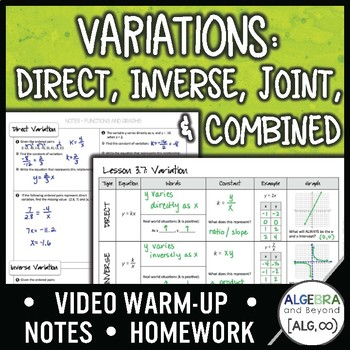Variation: Direct, Inverse, Joint and Combined Lesson