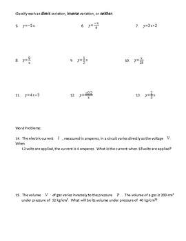 Variation (Direct & Inverse) worksheet