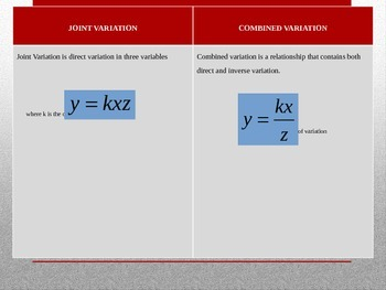 Variation Functions (Direct, Inverse, Joint, Combined)