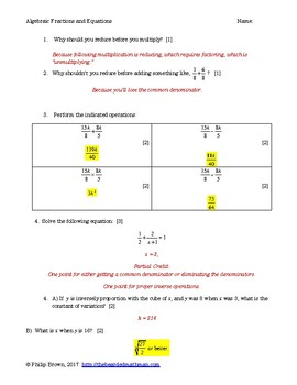 Variation and Rational Expressions/Equations Quiz - with Key Cambridge IGCSE