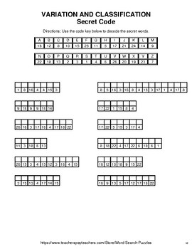 Variation and classification - Word Search, Word Scramble,  Crack the Code