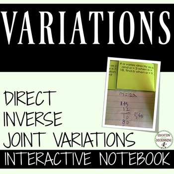 Variations Color Coded Interactive Notebook  Direct Inverse and Joint Variations