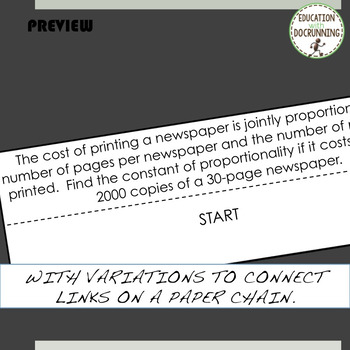 PreCalculus Variations Word Problems Paper Chain Activity