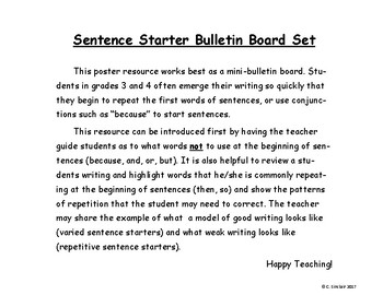 Varied Sentence Starters