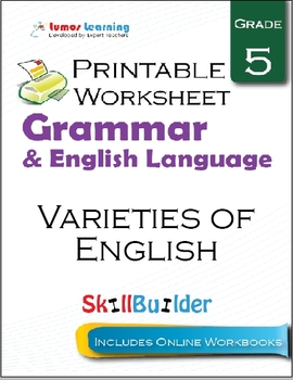Varieties of English Printable Worksheet, Grade 5