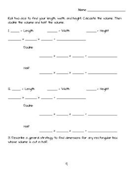 Varieties of Volume Worksheet