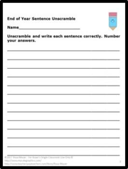Sentence Unscramble task Card & Worksheet Bundle