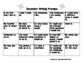 Variety December Writing Prompts