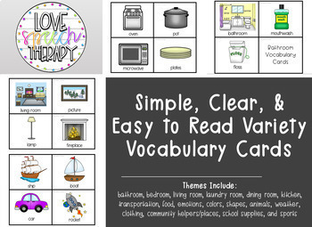 Variety Picture Vocabulary Cards & Category Mats