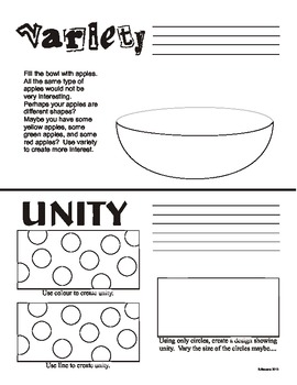 Variety and Unity (Principles of Art/Design) Worksheet (Canadian spelling)