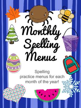 Monthly Spelling Menus - Spelling Practice Boards