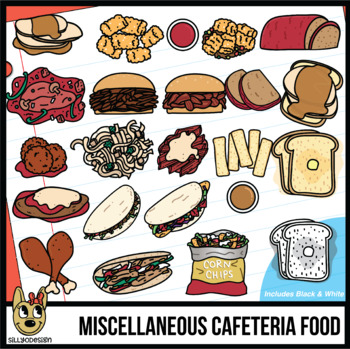 Variety of Dinner/Lunch Entrees, Cafeteria Food, School Food Clip Art