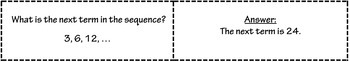 Sequences Quiz Cards Activity (Arithmetic, Geometric, and Exponential)