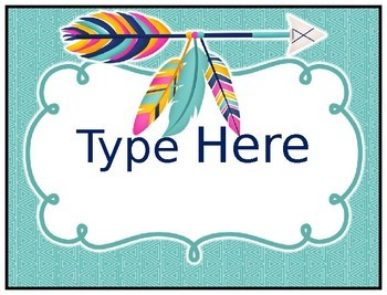 Variety of Tribal Themed Labels and Flag Banners- Editable