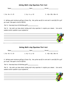 Various Algebra Review Pre and Post Assessments, Warmups