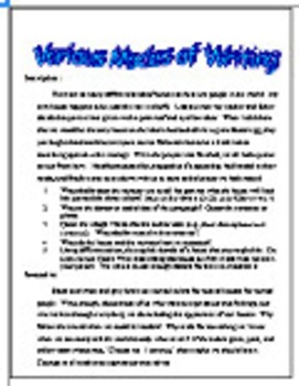 Various Modes of Writing For Secondary English