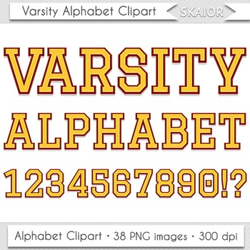 Varsity Alphabet Clipart Yellow Letters Numbers University Alphabet Printable