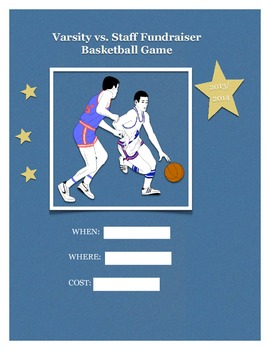 Varsity vs. Staff B-ball game poster
