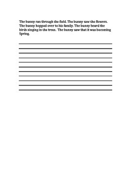 Vary Sentence Beginnings Writing Activity