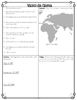 Vasco Da Gama Nonfiction Differentiated Reading Passages & Questions