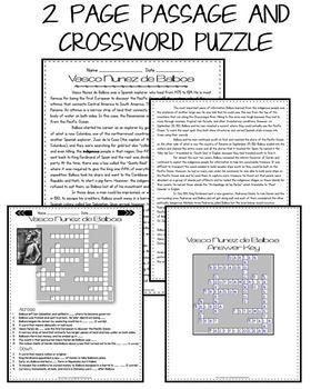 Vasco Nunez De Balboa Reading Passage: Biography: Comprehension Crossword